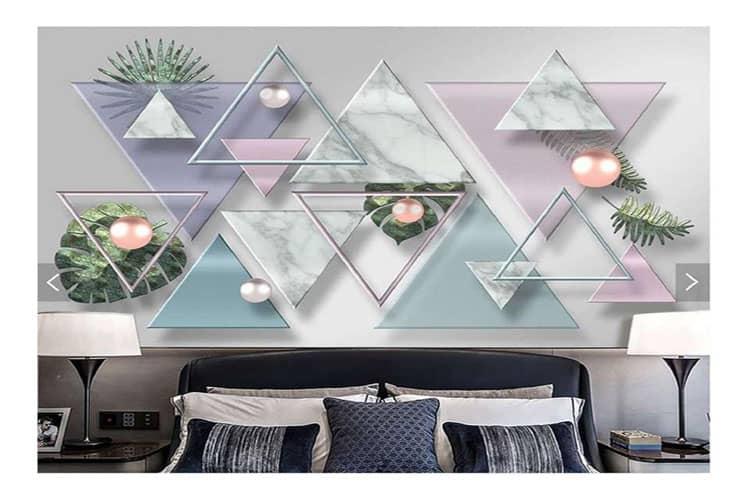 3D geometric marble mosaic wall mural