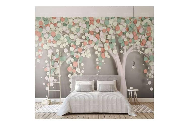 colorful tree wall mural