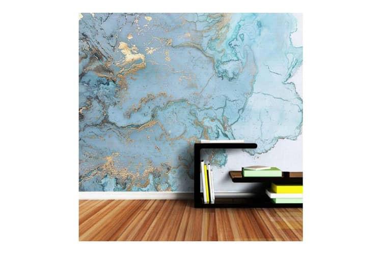 3D Retro Blue Bronzing Marble Texture Wall mural