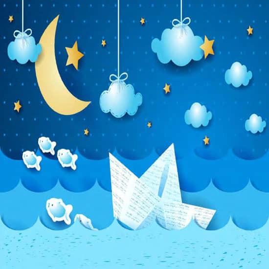 3D cartoon star moon mural