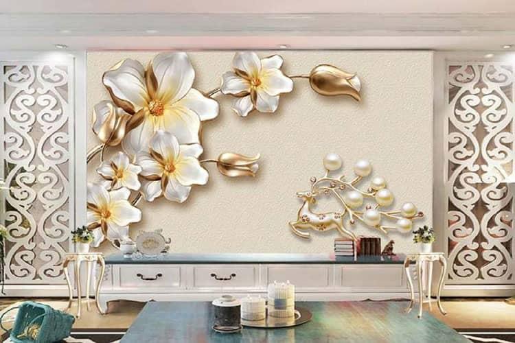 3D Golden Floral Wall Mural