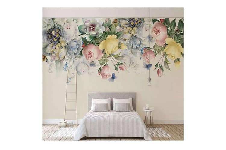 3D Retro Hand-painted Floral Wall Mural
