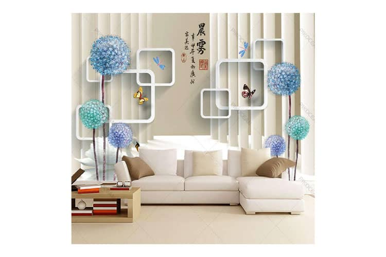 3D Square wall mural