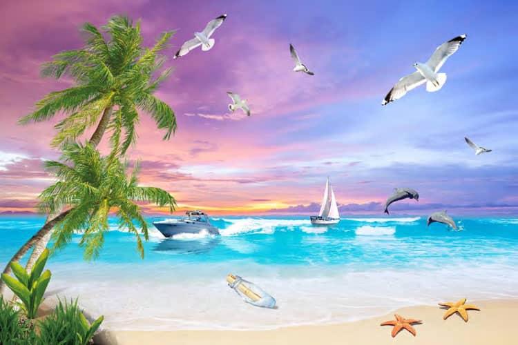 3D beach sea mural