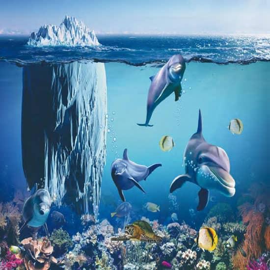 3D blue underwater dolphin