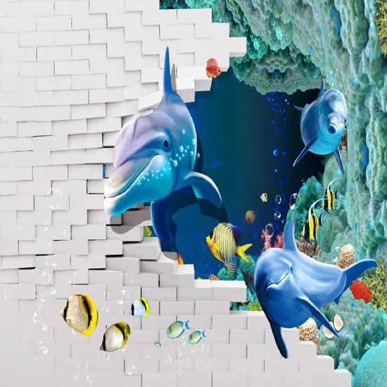 3D dolphins ruined PSD Wall
