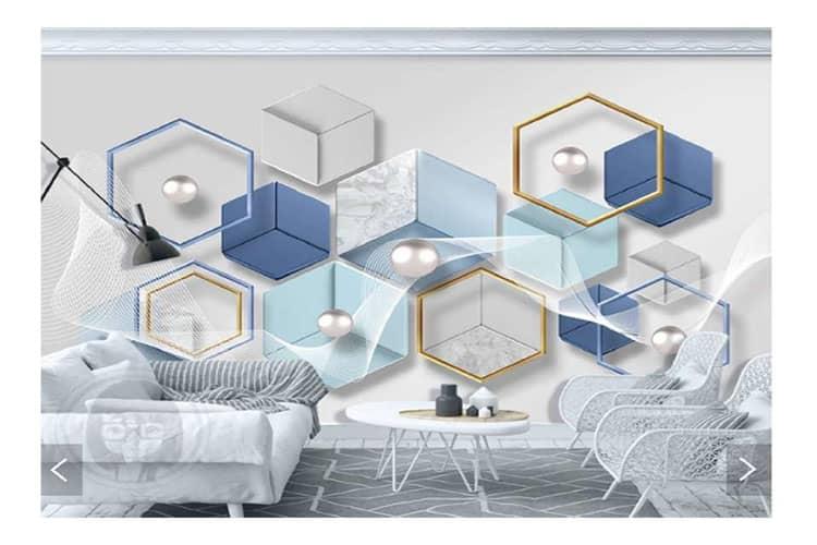3D geometric polygonal marble mural