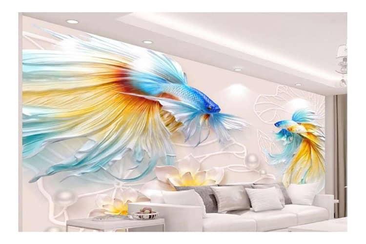 3D goldfish wall mural