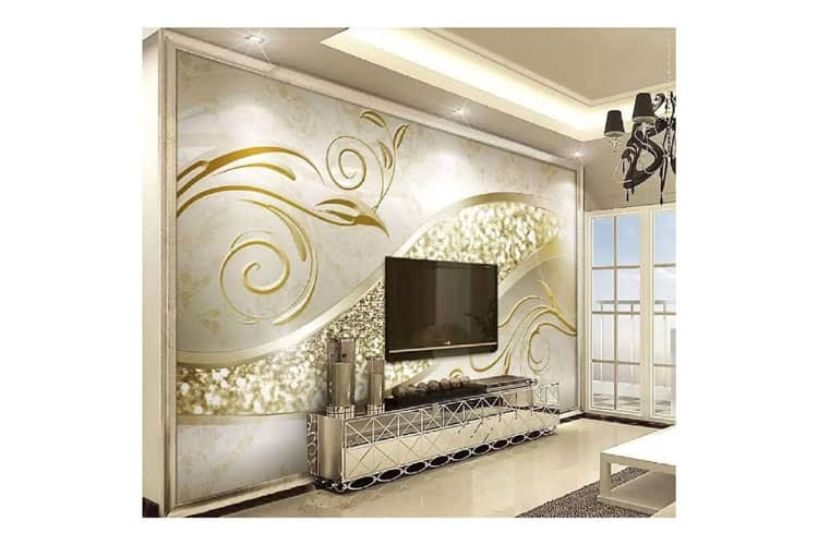 3d Pearl Gold abstract wall mural