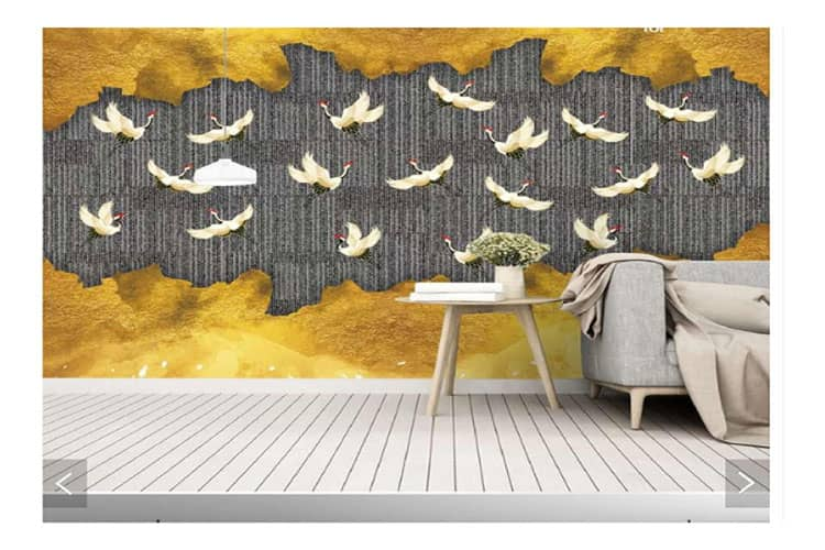 Abstract forest birds mural