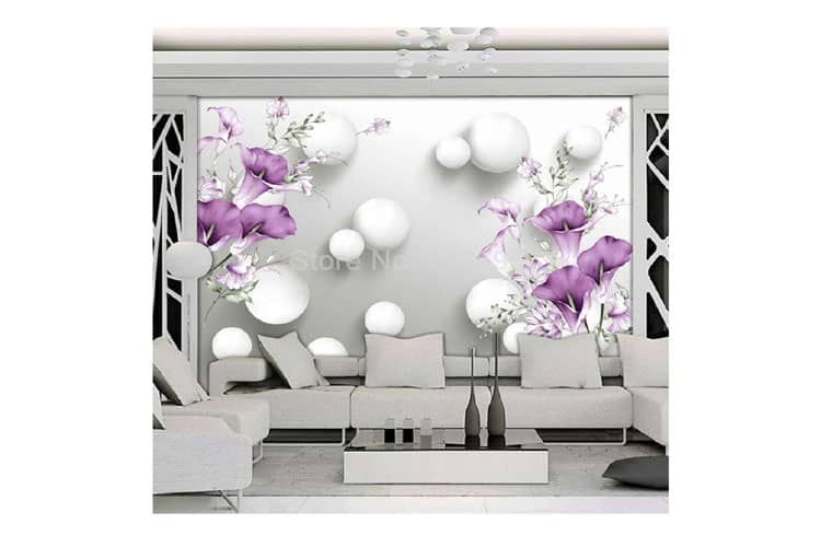 Modern Simple 3D Stereo Floral mural Relief Purple