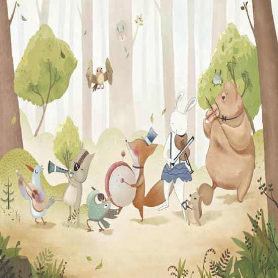 Cartoon forest mural Kids Room