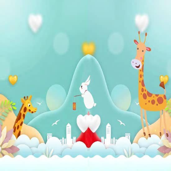 Cartoon giraffe animal background mural