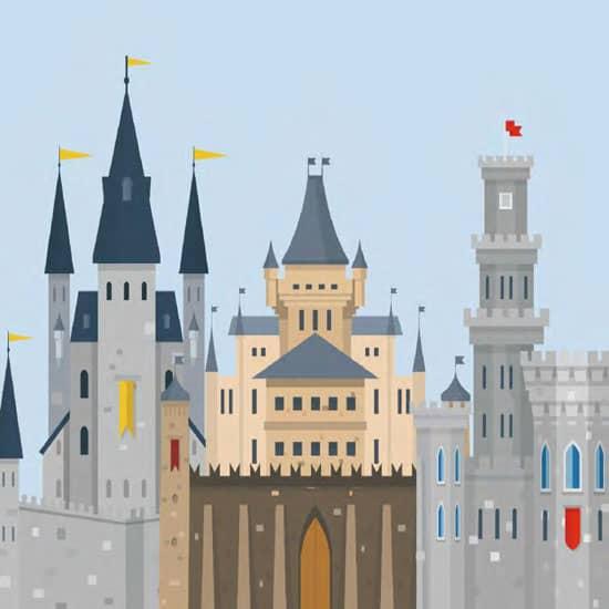 Custom Mural Wallpaper Modern Simple Cartoon Castle
