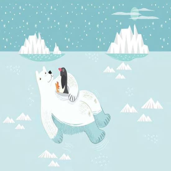 Cute cartoon polar bear Kids wallpaper kids