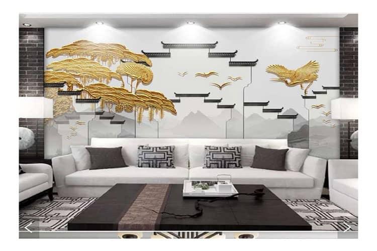 Golden wall mural