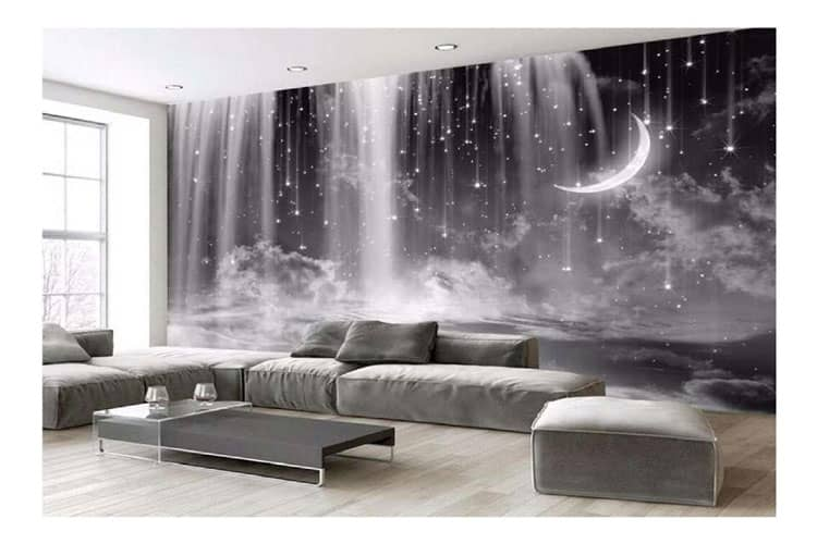 Hand-Painted Black And White Waterfall Starry Sky