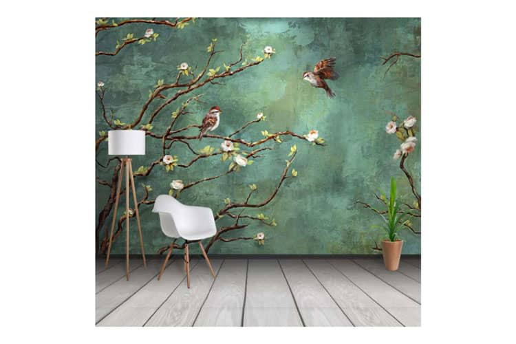 Nature green birds & branches wall Mural