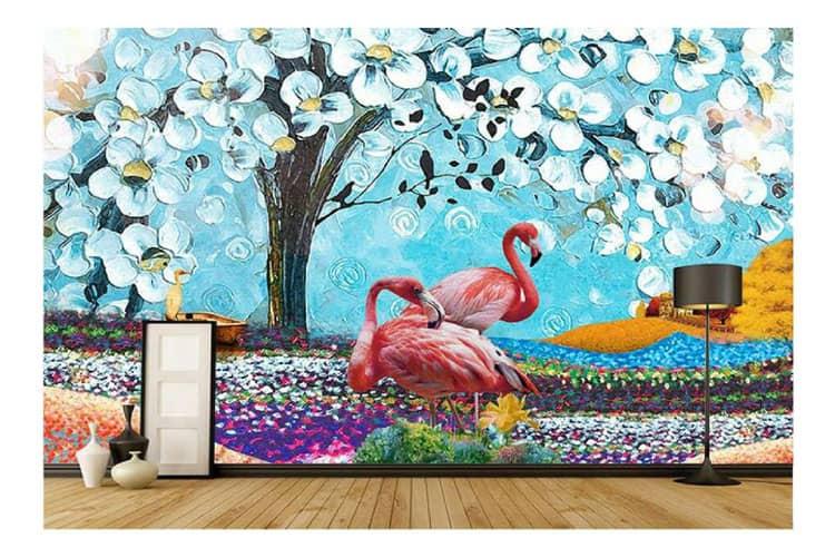 Tropical oil painting flamingo mural