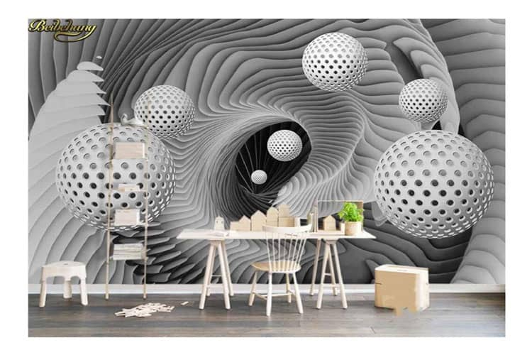 Abstraction space ball mural