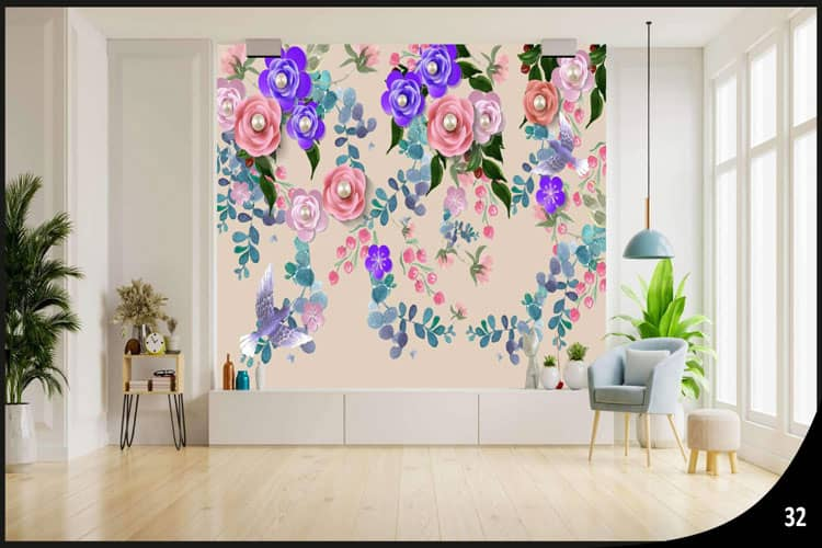 Floral wall mural