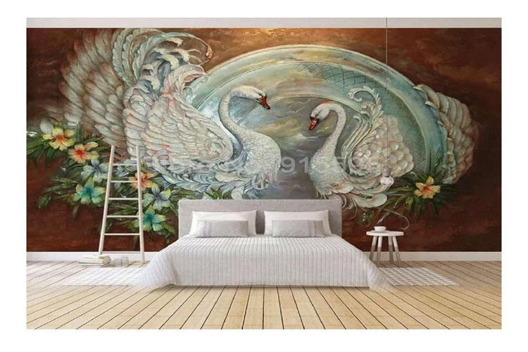 3D-Stereo-Swan-Flower-wallp
