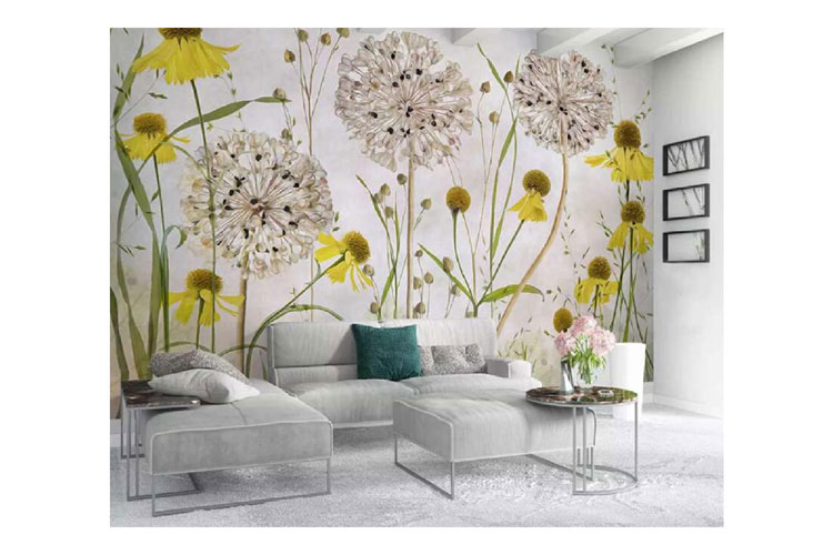 3D-yellow-floral-wall-mural