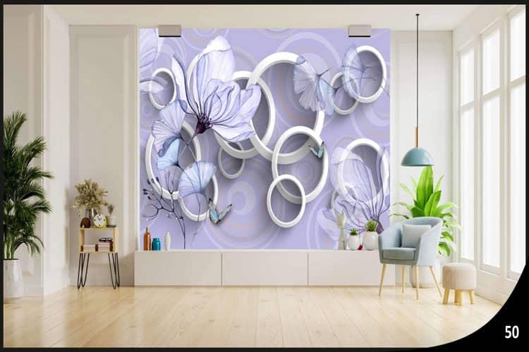 3D circle wall mural