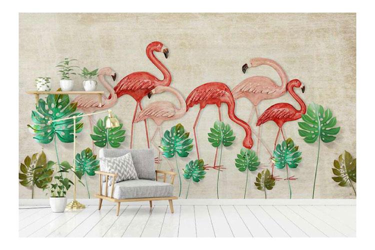 Flamingo-3d-wall-mural
