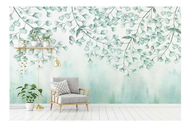 Green-leaves-watercolor-mural