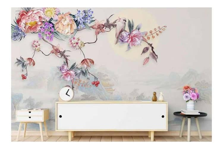 Hand-painted-flowers-birds-