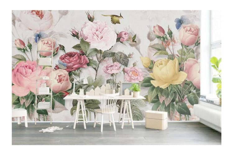 Hand-painted-mural,-plants,