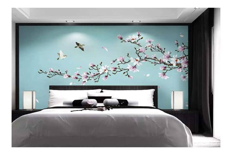 Magnolia-Hand-painted-wall-