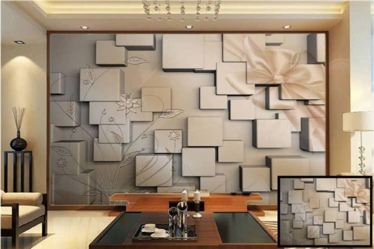 3D square box wall mural