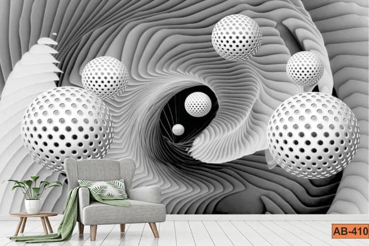 Abstract White Ball Vortex 3D Wallpaper Mural for Living Room